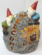 QVC Door Welcome Rock Indoor Outdoor Garden Statue Candle Luminary with Timer