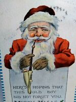 Santa Smoking Long Pipe Christmas Postcard Original Vintage Barton Spooner 1913
