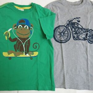 Hanna Andersson Boys Size 130 8 Tee Top Monkey Bike Green Grey