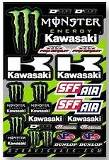 D'COR Team Monster Kawasaki Decal Sheet Thick Vinyl MotoX Dirt Bike