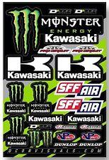 D'COR Team Monster Kawasaki Decal Sheet Thick Vinyl MotoX Dirt Bike