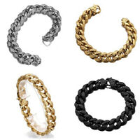 """9"""" Mens Chain Silver Gold Black Curb Cuban Link 316L Stainless Steel Bracelet"""