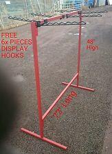 MARKET STALL DISPLAY SHOP CLOTH RAIL 4'x6' (6x FREE DISPLAY HOOKS)