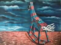 "Yosl Bergner Israeli Artist Oil On Canvas ""Wooden Horse"" Big Quality Painting"
