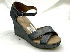 Toms womens ladies silver grey wedges heels sandals shoes 9M