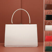 Real Leather Frame Handbag Clutch Purse Baguette Top Handle Briefcase Grab Bag