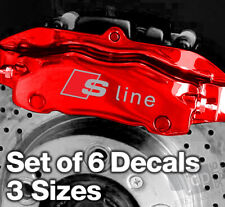 AUDI S-LINE Quality Brake Caliper Decals Stickers - SILVER & RED - 3 SIZES