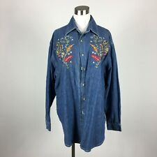 Quizz Size 20 Denim Shirt New NWT Long Sleeve Button Up Embroidered Beaded