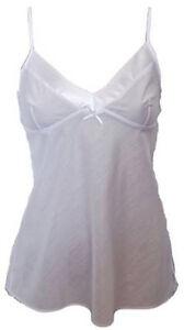 Ladies Stores Polycotton Cami Vest Top Camisole Satin Trim White Sizes 8-22 NEW