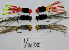 6 pack 1/16 oz hand tied crappie jigs teaser tail trout panfish bass bluegill