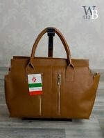Ital. Tote Bag Damentasche Handtasche Ledertasche echt Leder Braun Cognac 718BC