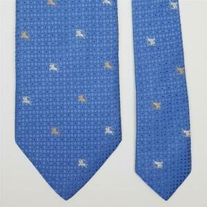 BURBERRY TIE Beige White Knight on Blue Polka Dot Classic Woven Silk Necktie