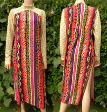Vintage Dress Tunic Long 70,s -80,s India Block Print Style Long Lace Sleeves Hi