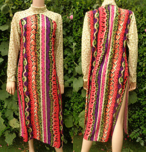 Vintage Dress Tunic Long 70,s -80,s India Block Print Style Long Lace Sleeves Hi