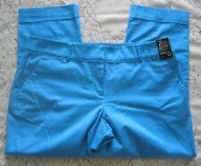 New York & Co 7th Ave Signature Fit Size 12 Cropped Pants Cuffed Blue NWT