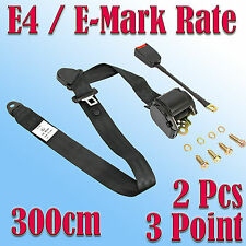 2 X 3M Universal  3 Point Retractable Auto Car Safty Seat Lap Belt Adjustable E4