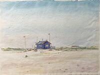 Ernst Hübschmann Sommertag auf Amrum Strand Küste Nordseeinsel Aquarell