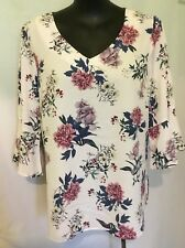 """AUTOGRAPH PALE PINK """"FLORAL"""" FLUTED SLEEVE TOP SZ 20-NEW STOCK ROMANTIC STYLE"""