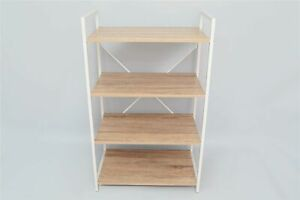 Four Tier Wooden Shelf Unit with White Metal Frame Bookcase Shelving 60x35x98cm
