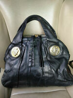Gucci Hysteria Top Handle Womens Tote Bag Black Calfskin Leather Purse 197019