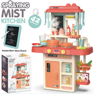 Role Play Kids Kitchen Play set W/Real Cooking Spray And Water Boiling Sounds UK