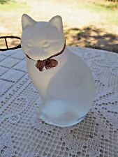 """NYBRO FROSTED CRYSTAL GLASS SWEDEN  CAT VINTAGE 5 3/4"""" HIGH  GREAT"""