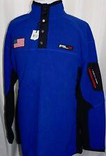 NWT Mens RLX Ralph Lauren Blue Fleece USA Flag 1/4 Zip Snap Pullover Jacket 2XLT