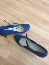Ladies Blue Suede Size 9 Ankle Strap Shoes