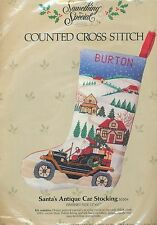 SANTA'S ANTIQUE CAR STOCKING COUNTED CROSS STITCH KIT - CANDAMAR - NEVER OPENED