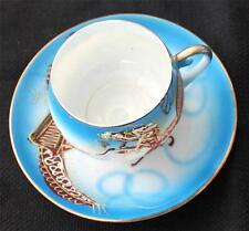 Vintage JAPANESE Geisha Lady LITHOPHANE Moriage DRAGONS on Blue Cup & Saucer