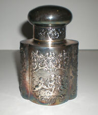 "Antique Old Vtg Lg 4.75"" Barbour Silver Co Tea Caddy Container Embossed Repousse"