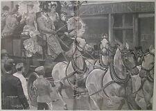 AMERICANS IN PARIS BY R. CATON WOODVILLE 1892 HARPER'S WEEKLY PRINT