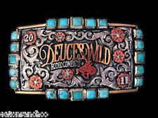 Mortenson Custom Rodeo Belt Buckle Turquoise Awards DuecesWild Rodeo