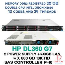 HP DL360 G7 2X X5650 12CORES 32 TRHEADS 60GB DDR3 4X 600GB SAS 10K SERVIDOR