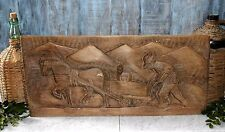 Antique French Carved Wood Relief Panel Farmer and Horse Ploughing the Fields