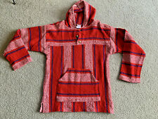 Baja Hoodie Mexican Hippie Pullover Surf Drug Rug 2 BUTTON RED WHITE BLUE Large