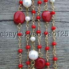 S101510 74'' White Round Pearl Coral Rondelle Crystal Necklace
