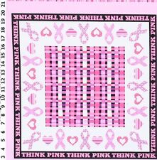 Think Pink Breast Cancer  Quilt Panel by Windahm fabric - Quilt Kit 100% Cotton