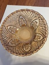 """Vintage Pink depression glass bowl with roses and fleur de lis 10"""" Collectible"""