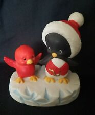 Enesco Cute-'n-Cool Penguin in Santa Hat & Red Bird Figurine 1985 Morehead, INC