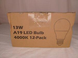 12 Pack A19 LED Light Bulbs - 13W - 100W to 125W Equivalent - E26 Medium Screw