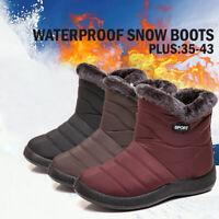 Women Winter Warm Ankle Snow Boots Fur Side Zip Waterproof Slip On Flat Shoes