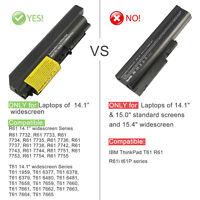 6 Cell Battery For IBM Lenovo ThinkPad T61 R61 T400 R400 T61p R61i T61u 42T5229