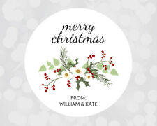 Personalized Christmas Xmas Present / Card Stickers / Gift Tags / Holly Design