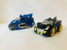2007 Mattel Shake N Go  Batman Motorcycle + Batmobile Vehicle Toy Tested Working