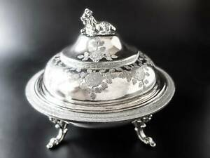 Antique Silverplate Covered Butter Dome Figural Goat Cheese Dome