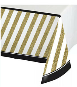 Black And Gold Border Print Plastic Table cover Birthday Table Cloth