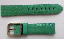 New Locman green galuchat leather strap band 20 mm width with buckle.