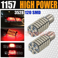 2x 1157 2057 Red 120 SMD Dual Filament Turn Signal / Tail Brake LED Light Bulbs