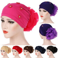 Big Flower Hijab Stretch Turban Cap Hair Loss Cancer Chemo Hat Head Scarf